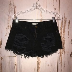Forever 21 heavily distressed cut off shorts